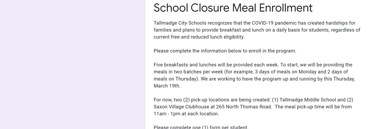 School Closure Meal Enrollment